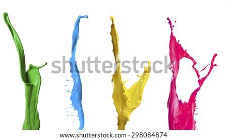 Paint splashes isolated on white - stock photo