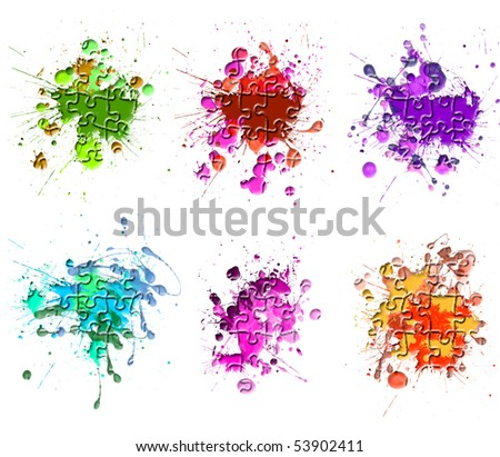 Paint Splats on the puzzle - stock photo