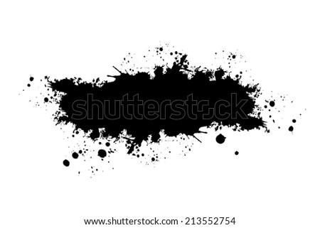 Paint stains black blotch. Raster - stock photo