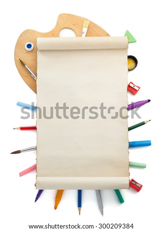 paint supplies and paper isolated on white background - stock photo