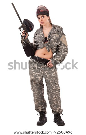 Paintball girl, isolated on white background - stock photo
