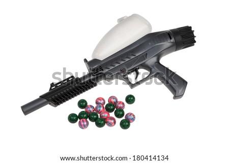 Paintball gun on white background - stock photo