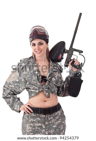 Paintball woman, studio shot, isolated in white - stock photo