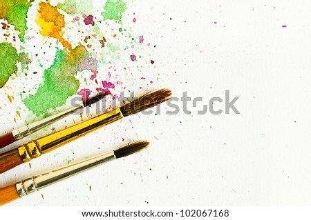 paintbrush and water-color abstract art - stock photo