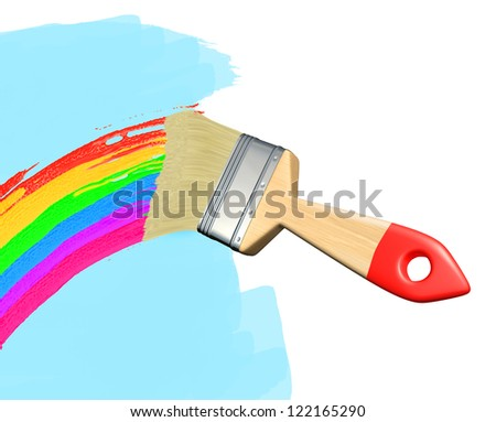 Paintbrush drawing a rainbow