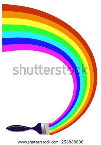 paintbrush drawing a rainbow - stock photo