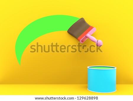 paintbrush in cartoon style - stock photo