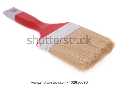 Paintbrush isolated on white. Very shallow depth of field. - stock photo