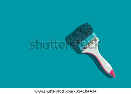 Paintbrush on mint green background with copy-space. Designated as illustration.