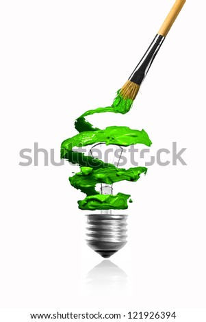 Paintbrush paint spiral color trace light bulb - stock photo