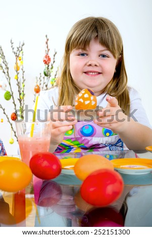 painted and decorated eggs for Easter/painted and decorated eggs for Easter - stock photo