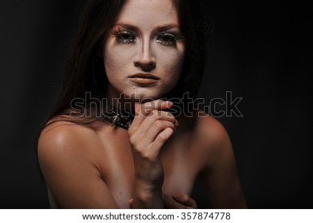 painted and nice makeup on face of sensual women