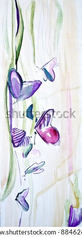 Painted background with flowers and butterflies - stock photo