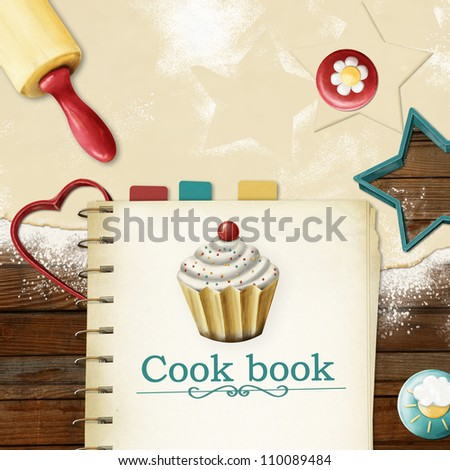 painted baking background: dough, rolling pin, cookie cutters and  cookbook with bookmarks - stock photo