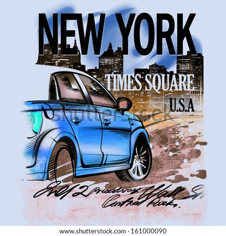 Painted blue car on a night in New York. USA. Drawing hand. Rain, puddle, splashing water.  - stock photo