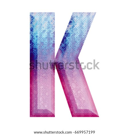 Painted Blue Fading To Pink Uppercase Or Capital Letter K In A 3D Illustration With