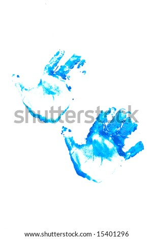Painted blue hand prints