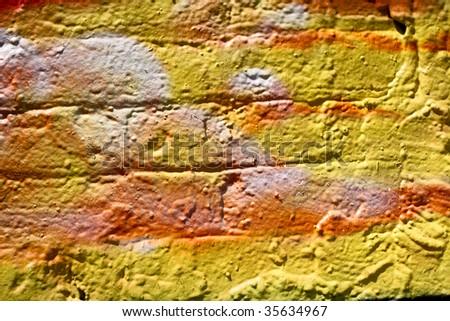 painted brick wall - stock photo