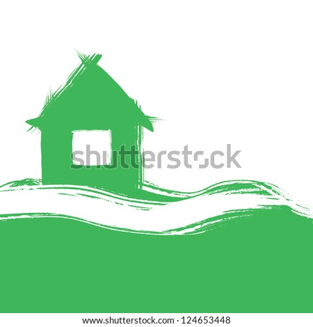 painted brush stylized house, abstract composition