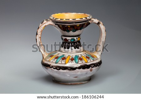 painted ceramic vase with two handles, Tunisia - stock photo