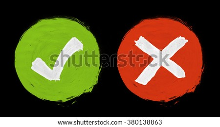 Painted check mark icons - green and red