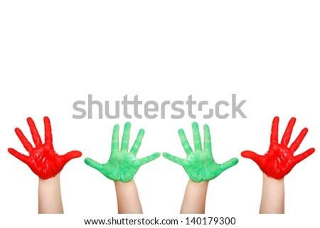 Painted child hands - stock photo