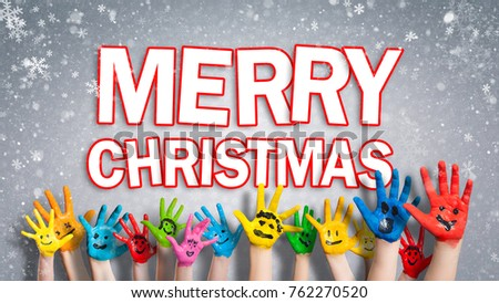 Painted Children Hands Smiley Front Christmas Stock Photo (Royalty ...