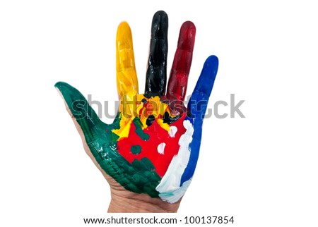 Painted colorful hand isolated white background