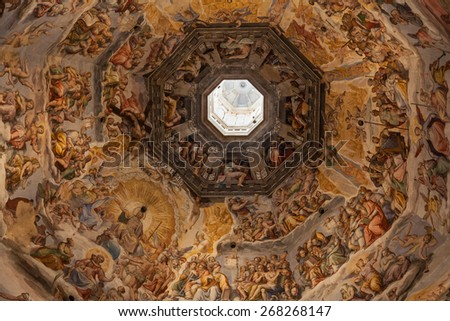 Painted decorated ceiling in the Cathedral Santa Maria del Fiore, Florence, Italy.