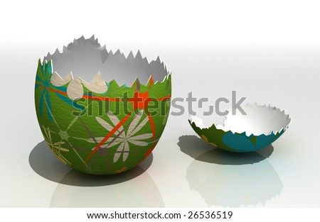 Painted easter egg on reflecting surface