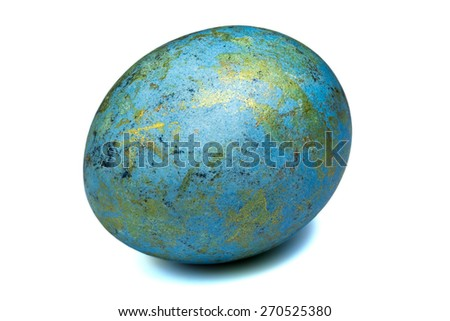 painted easter egg with metallic glitter isolated