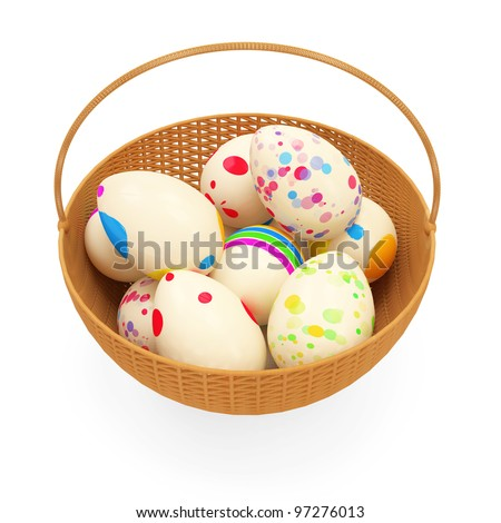 Painted Easter Eggs in a basket isolated on white background