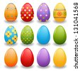 painted easter eggs (raster version of the vector) - stock photo