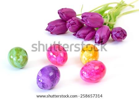 Painted easter eggs with purple tulips over white background - stock photo