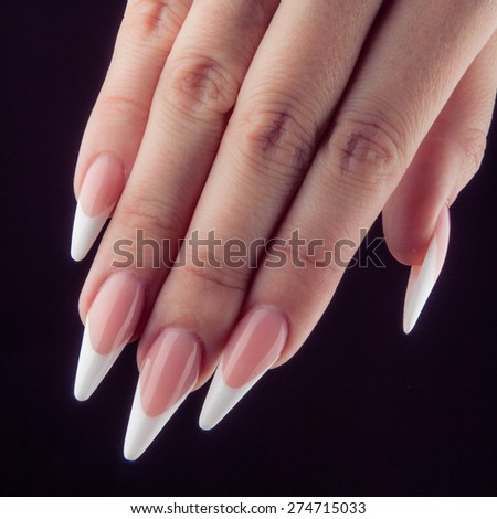 Painted Extreme Long White Nails Hands Stock Photo (Royalty Free ...