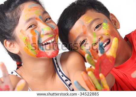 painted faces - stock photo