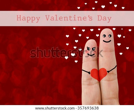 Painted finger smiley, Happy valentine's day concept on red background. - stock photo