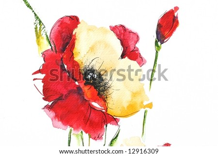 Painted floral background with beautyful red poppy on white . Ink and watercolor painting. Art is created and painted by the photographer. - stock photo