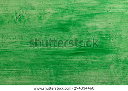 Painted green piece of wood set as background - stock photo