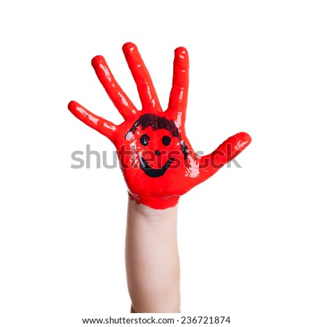 painted hand of a kid - stock photo