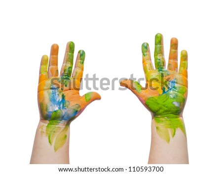 Painted hands of child isolated on white background - stock photo