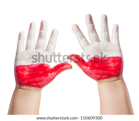 Painted hands of child isolated on white background and polish flag - stock photo