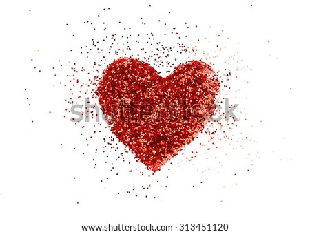 Painted heart on white paper background - stock photo