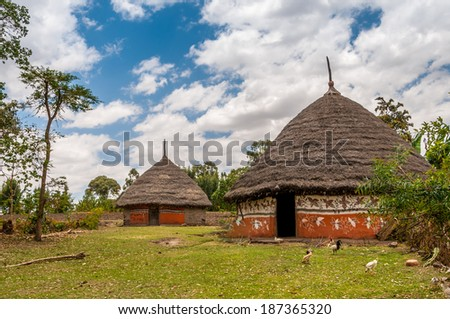 Painted homes in the Ethiopian countryside - stock photo