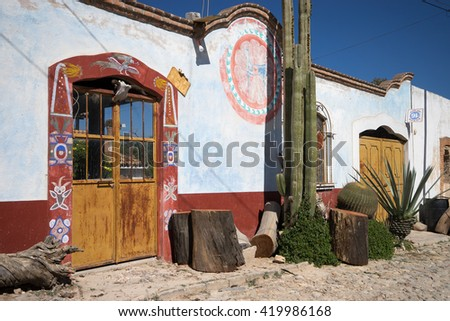 painted house in mIneral de Pozos Mexico - stock photo