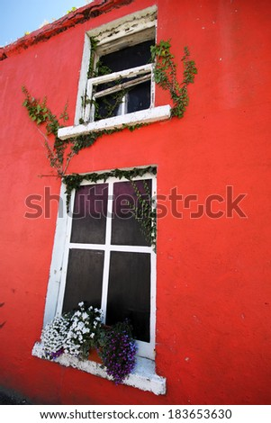 Painted houses in West Cork village in Ireland Europe.