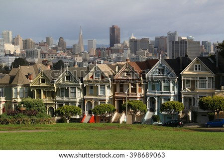 Painted Ladies across from Alamo Square park in San Francisco, known as Postcard Row, often appears in media and mass-market photographs of the city.
