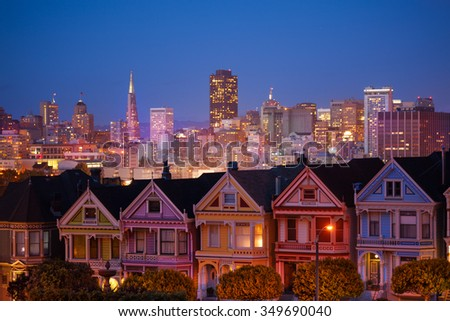 Painted ladies and illuminated San Francisco - stock photo