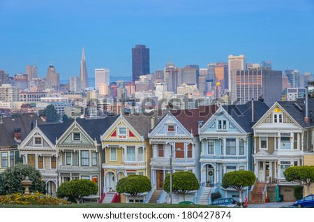 Painted Ladies and San Francisco skyline ant dusk - stock photo