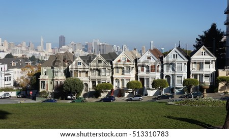Painted Ladies picturesque vicotrian houses, San Francisco California